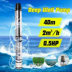 0.5HP 370W 40m 2m3/H Bore Water Pump Deep Well Irrigation Stainless Steel
