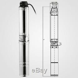 0.5HP Submersible Well Pump 164FT 25.5GPM 220V 1/2HP Deep Stainless Steel Water