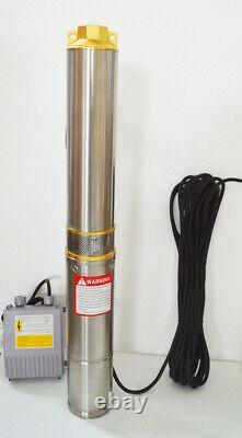 110V Submersible Deep Well Water Pump 1 inch Outlet 128ft Delivery