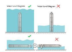 24V 2 Deep Well Submersible Pump 2 528GPH 340W, 131FT Solar Battery Water Pump