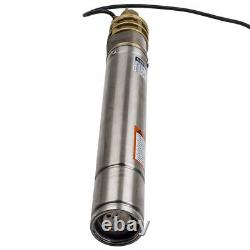 3 0.75KW 2800 L/h Submersible Watering Deep Well Borehole Pump Stainless Stee