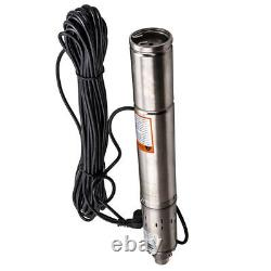 3 Borehole Deep Well Submersible Water Pump 2100 L/H 77m Head + 15m cable