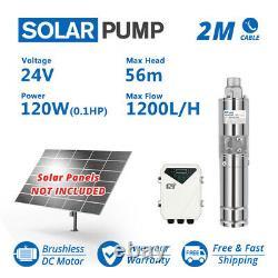 3 Solar Deep Water Well Screw Bore Pump S/Steel Submersible Farm Pond 24V 120W