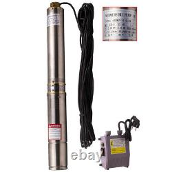 4 0.75HP Deep Well Submersible Borehole Water Pump 4,000L/H 550W + 15m Cable