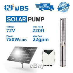 4 DC 72V 1HP Deep Bore Well Solar Water Pump Submersible MPPT Controller Kits