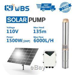 4 Submersible Deep Well Solar Water Bore Pump 110V 2HP Borehole Irrigation Farm
