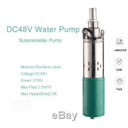 48V 370W Deep Well Screw Submersible Water Pump 1in Outlet 396GPH 213FT Max Lift