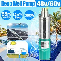 48V/60V 380W Lift Max 55M 1.2M³/H Deep Well Submersible Water Pump Powered Pump