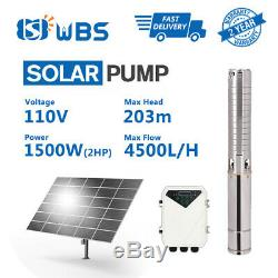 4inch Bore Hole Deep Well Solar Water Pump 110V 2HP Submersible MPPT Control Box