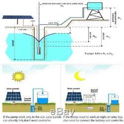 DC24V Solar Powered Deep Well Submersible Water Pump External Controller 80m Max