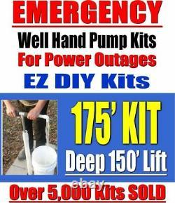 Deep Well Hand Pump For EMERGENCY, Manual Water Well Hand Pump 150' LIFT