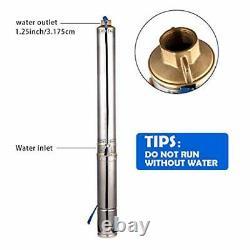 Deep Well Submersible Pump 4 OD Diameter Stainless Steel Water Pump