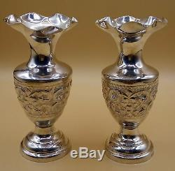 Handcraved Silver Combo Water Flower Pot Set Deep Carved Well Designed Pot