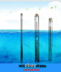 SHYLIYU 220V50Hz 3/4HP 2.5Pipe Submersible Deep Water Well Pumps 207ft 1Outlet