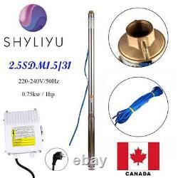 SHYLIYU 220V50Hz Stainless Steel 1Hp 2.5 Submersible Deep Well Water Pump 269ft