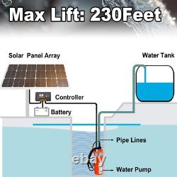 Submersible Deep Well Water Pump Solar Battery for Pond Garden Watering DC 24V