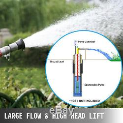 Submersible Water Pump, Deep Well, 4, 1.5HP, 110V, 380 ft Head, Heavy Duty