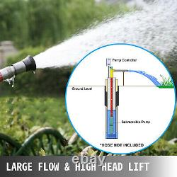 Water Pump 220V 1500W 102mm Submersible Bore 2HP Deep Well 220V 423ft 26GPM