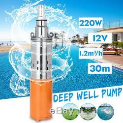 12v 220w Puits Profond Pompe Submersible Pompe À Eau D'énergie Solaire 1.2m / H 30m Max Lift