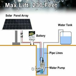 12v Pompe Solaire Submersible De Puits D'eau Profonde Pour L'irrigation Acier Inoxydable 70m 4
