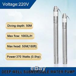 2 Bore Submersible 0,5 HP Pompe À Eau De Puits Profond 220 V Irrigation En Acier Inoxydable