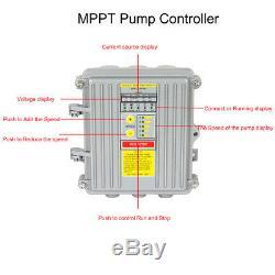 24v 3 Puits D'eau Solaire Profonde Pompe S / Acier Submersible Vis Kits Contrôleur Ferme