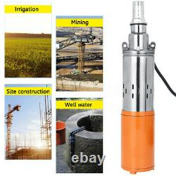 260w DC 24v 1.2m³/h 50m Max Lift Deep Well Pump Submersible Water Pump + Câble