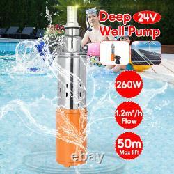 260w DC 24v 1.2m3/h 50m Max Lift Pompe De Puits Profond Pompe À Eau Submersible + Câble