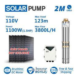3 DC Deep Bore Well Solar Water Pump 110v 1.5hp Kit De Contrôleur Mppt Submersible