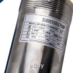 4 1.5hp 1.1kw Eau De Puits De Forage Profond Pompe Submersible 50hz 220-240v 20m Câble