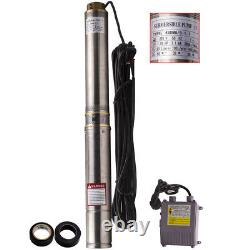 4 1100w Deep Well Submersible Bore Water Pump Stainless Steel + 20m Câble
