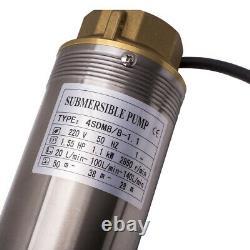 4 1100w Pompe À Eau Submersible De Puits Profond 10800 L/h + 20m Câble Max. Tête 54 M