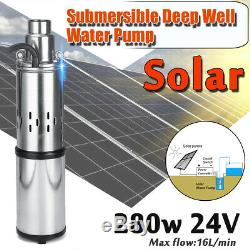 40m 24v 250w En Acier Inoxydable Solaire Submersible Eau De Puits Profond Power Pump