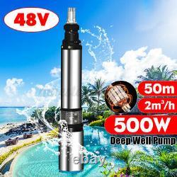 500w 48v / 60v Haute Puissance 2 M³ / H Débit Max Lift 50m Pompe Pour Puits Profond En Acier Pompe À Eau