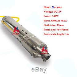 Dc12v Solaire Pompe Submersible Brushless Eau 3000l / H 20 M Tête De Puits Profond Pompe 24v