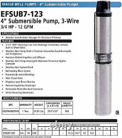 Eco-flo Products Efsub7-123 Submersible Deep Water Well Pump, 3 Fil, 230v