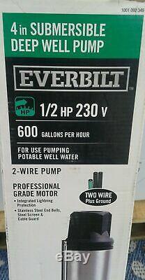 Everbilt 1/2 HP Submersible 3 Fils Moteur 10 Gpm Puits Profond Pompe À Eau Potable