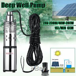 Ultra Quiet 24v 60m Deep Well 16l / Min Submersible Solaire D'eau Ascenseur Pompe