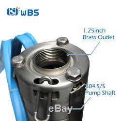 Wbs 3 DC Puits Profond 1hp Solaire Pompe À Eau S / S Impulseur 311feet 21gpm Submersible